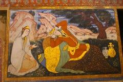 Fresko's binnen het Paleis van Chehel Sotoun, Isphahan, Iran stock foto