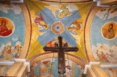 Fresko's op het plafond in Griekse Orthodoxe Kerk Stock Afbeeldingen
