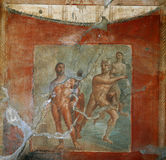 Fresko's in ruines van Pompei, Napels, Italië Stock Foto