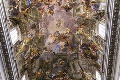 Fresko's van Andrea Pozzo op de kerkplafonds van santignazio, Rome, Ital Royalty-vrije Stock Foto