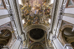Fresko's van Andrea Pozzo op de kerkplafonds van santignazio, Rome, Ital Royalty-vrije Stock Fotografie