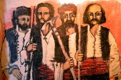 Fresko's van Griekse karakters Stock Afbeelding
