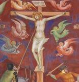 Fresko in San Gimignano - de Kruisiging stock fotografie