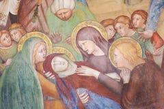 Fresko in San Gimignano - Dood van Moeder Mary Royalty-vrije Stock Foto's