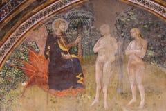Fresko in San Gimignano - in Jesus, in Adam und in Eve im Garten von E Lizenzfreies Stockbild