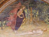 Fresko in San Gimignano - Verwezenlijking van Adam Royalty-vrije Stock Foto