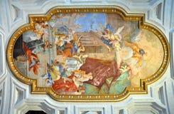 Fresko San Pietro in Vincoli-Kirche Schöne alte Fenster in Rom (Italien) Lizenzfreie Stockfotografie