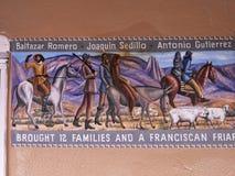Fresko unter einem überdachten Säulengang in Albuquerque-New Mexiko Stockbild