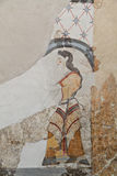 Fresko van oude Akrotiri in Santorini stock foto