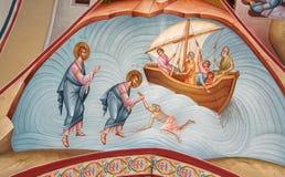Fresko von Christ und von Apostel Peter Stockfotografie