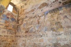 Fresko am Wüstenschloss Quseir (Qasr) Amra nahe Amman, Jordanien Lizenzfreie Stockfotos