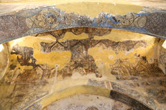Fresko am Wüstenschloss Quseir (Qasr) Amra nahe Amman, Jordanien Stockbild