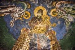 Freskokunst - Kerk van St George, Kurbinovo, Macedonië stock fotografie