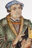 Freskomålning av den tyska världsförbättraren Martin Luther Arkivbild