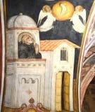 Freskomålning av helgonet Benedict Royaltyfri Fotografi