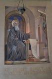 Freskomålning av helgonet Benedict Royaltyfri Bild