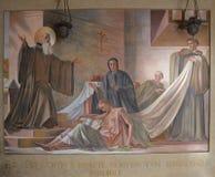 Freskomålning av helgonet Benedict Fotografering för Bildbyråer