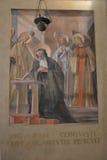 Freskomålning av helgonet Benedict Royaltyfria Bilder