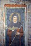 Freskomålning av helgonet Benedict Arkivbild