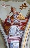 Freskomålning av helgonet Gregorius den stora läraren för påve av den västra kyrkan från tak av kapellet i den helgonAnton slotte Arkivfoto
