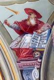 Freskomålning av helgonHieronymus den stora läraren av den västra kyrkan från tak av kapellet i den helgonAnton slotten Royaltyfri Bild