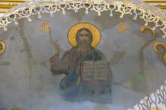 Freskomålning av Jesus Christ. Arkivbilder