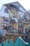 Freskomålning av Petit Champlain på slutet av Rue du Petit Champlain i lägre stad i gamla Quebec, Kanada Arkivfoton