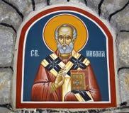 Freskomålning av St Nicholas i kyrkan Royaltyfria Bilder