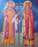 Freskomålning för helgon Constantine och Helen från en gammal grekisk ortodox kyrka Arkivfoto