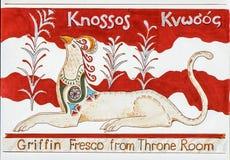 Freskomålning för Knossos slottgrip royaltyfri foto
