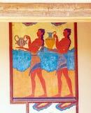 Freskomålning för vattenbärare, symbol av minoan kultur, Knossos slott Royaltyfri Fotografi