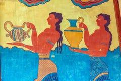 Freskomålning för vattenbärare, symbol av minoan kultur, Knossos slott arkivbild
