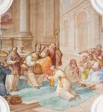Freskomålning i basilika för St Mang i Fussen, Bayern, Tyskland Royaltyfri Foto
