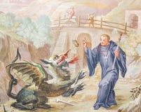 Freskomålning i basilika för St Mang i Fussen, Bayern, Tyskland Royaltyfri Fotografi