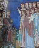 Freskomålning i basilikadi Santa Cecilia i Trastevere, Rome, Italien Arkivfoton