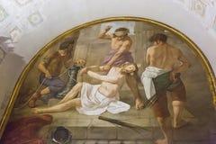 Freskomålning i basilikan Santa Prassede, Rome, Italien arkivfoto