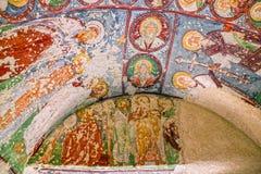 Freskomålning i den ortodoxa kyrkan El Nazar, Cappadocia, Turkiet för grotta Arkivfoto