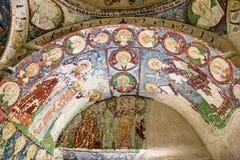 Freskomålning i den ortodoxa kyrkan El Nazar, Cappadocia, Turkiet för grotta Arkivbilder