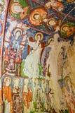 Freskomålning i den ortodoxa kyrkan El Nazar, Cappadocia, Turkiet för grotta Royaltyfri Foto