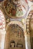 Freskomålning i den ortodoxa kyrkan El Nazar, Cappadocia, Turkiet för grotta Royaltyfria Bilder