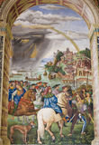 Freskomålning i det Piccolomini arkivet, Siena Royaltyfri Bild