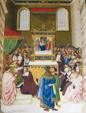 Freskomålning i det Piccolomini arkivet, Siena arkivfoto