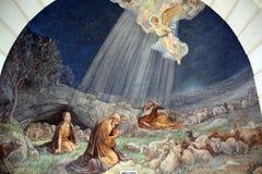 Freskomålning i herden Field Chapel Arkivbilder