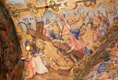 Freskomålning i kyrkan av den heliga griften, Jerusalem - Jesus på Via Dolorosa arkivfoto