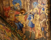 Freskomålning i kyrkan av den heliga griften, Jerusalem - Jesus som arresteras på långfredag royaltyfri foto