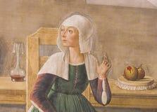 Freskomålning i San Gimignano - död till helgonet Fina Royaltyfria Bilder