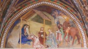Freskomålning i San Gimignano - Epiphanyplats royaltyfria foton