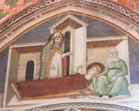 Freskomålning i San Gimignano - helgon Gregory och Fina Royaltyfria Foton