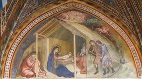 Freskomålning i San Gimignano - julkrubba royaltyfria foton