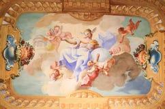 Freskomålning i Stift Melk, Österrike - vetenskap Royaltyfria Foton